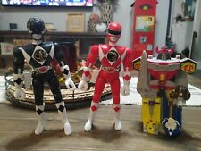 3 vintage 1994 Power Rangers toys, one coin bank, 2 action figures
