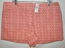 "Ann Taylor Loft Coral Flat Knit Cotton Embroidered 4"" Shorts Sz 14"