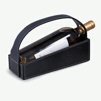 WINE CARRIERS - BLACK LEATHER WINE CADDY - WINE BOTTLE HOLDER - WINE SERVER