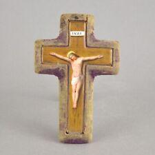 Miniature crucifix ancien en porcelaine et tissue 19ème