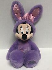 "Genuine Disney Store Minnie Mouse Easter Bunny Plush Purple Rabbit 19"""