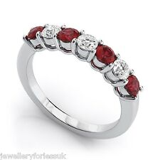 18Carat White Gold Diamond & Natural Ruby 7 Stone Eternity Ring 0.60cts 2.5MM