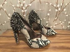Sam Edelman Lorissa Snake Crystal Metal Studded Peep Toe High Heel Shoes 6M $250