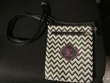 Girls Crossover Purse Black Hot Pink And White Adjustable Strap Initial K