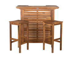 Safavieh Outdoor Bar Table & Stool Patio Furniture Set 3-Piece, in Teak Brown