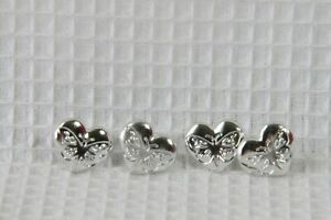 """Novelty Buttons (new) 5/8"""" (4) Silver Heart w/ Butterfly"""