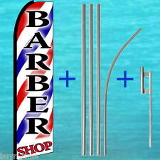 BARBER SHOP FLUTTER FLAG + POLE MOUNT KIT Tall Advertising Sign Feather Banner