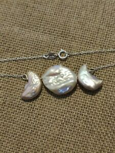 Freshwater keshi triple moon pearl solid Sterling 925 silver necklace wiccan