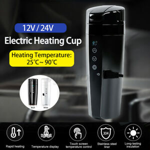12V Car Electric Kettle Heating Cup Insulation Mug LCD Display Stainless  *