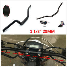 "Black 1 1/8"" 28MM Aviation Aluminum Handlebar Handle Fat Bar For Motorcycle Bike"
