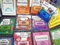 kids books  Italian Language set of  6  pcs  books with tape  VINTAGE  NEW