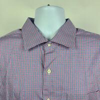 Peter Millar Red Blue Check Plaid Mens Dress Button Shirt Size 2XL XXL