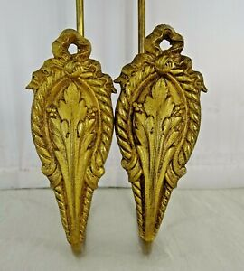 French Antique Gilt Bronze Curtain Holds Tiebacks Hooks 19 th Louis XVI Style