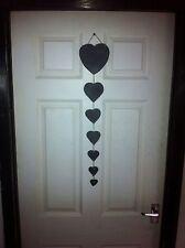 Handmade Natural Slate Hanging 7 Heart Decoration Mini Chalkboards
