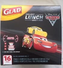 New Disney Pixar Cars Glad Lunch Variety Pack Containers Lids 16 pieces.  NEW