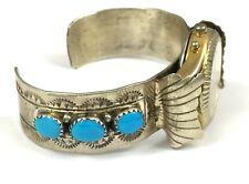 Native American Sterling Silver Stamped Watch Cuff Bracelet