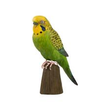 More details for wildlife garden - carved wood figure bird. - budgerigar green