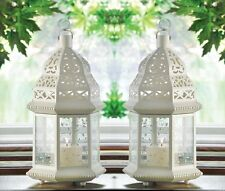 "Large White Moroccan Lantern 15"" tall (Set of Two) Wedding Supplies 38466"
