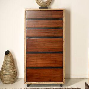 Bambus Kommode Cube Designer Edel Möbel Schrank Sideboard Holz Bambusmöbel Luxus