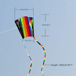 Single Line Pocket Kite Mini Rainbow Kids Kites 30m Line Frameless in Pouch UK