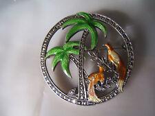 Vintage Marcasite & Enamel Sterling Exotic Bird Pin