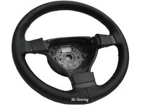 FOR MINI COOPER R50 BLACK PERFORATED LEATHER STEERING WHEEL COVER GREY STITCHING