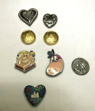 Vintage Button Covers (Clip-on) gold,silver,flintstones,poly heart lot  OF 7