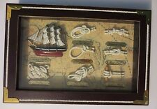 NEW Awesome 7 SAILOR KNOTS  / 1869 CUTTY SARK Display Board in Wooden Shadow Box