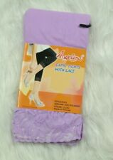 Angelina Capri Tights w Lace Lilac Purple Spandex One Size Fits Most