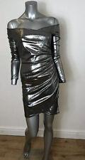 Metallic Silver Dress Off Shoulder Size 8 Long Sleeve New Bodycon Evita DY13 New