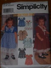 "Simplicity ""Design Your Own"" Girls Dress Pattern 9492 Sizes 6m,1,2,3,4"