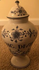 """French Apothecary Jar """"Ung Divin"""" - Perfect"""