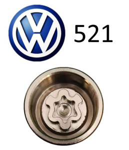 VW New Locking Wheel Nut Key Letter A, Code 521 with 17mm Hex