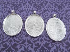 20 Oval Pendant Trays - 30x40mm - Shiny Silver Color - Blanks Bezel Setting