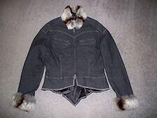 Ladie's FUBA Full-Zip Jean Jacket w/Removable Fox Fur Collar & Cuffs L BLACK EUC
