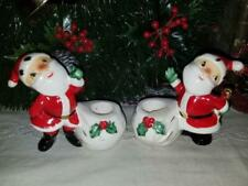 Vintage Holt Howard Japan 1958 Pair Christmas Santa Claus Taper Candle Holders