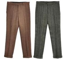 Mens Vintage Casual Tweed Wool Dress Pants Work Wedding Herringbone Trousers New