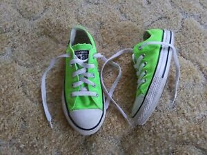 *EUC* CONVERSE ALL STAR NEON GREEN SNEAKERS youth size 13