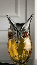 Fabulous Art Glass Freeform Abstract Owl Face Sculptured Vase 23cm