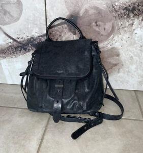 Botkier Women Shimmering Grayish Black Leather Backpack