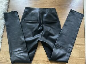 Helmut Lang Black Crashed Leather Slim Cut Skinny Leggings Pants Size 4