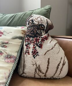 Vintage Tapestry Pug Dog Pillow by Tableaux