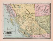 BRITISH COLUMBIA, CANADA, ANTIQUE MAP, ORIGINAL 1903
