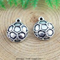 40pcs Antique Silver Alloy Football Charms Pendants Jewellery Findings 51406