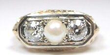 Antique Vintage Art Deco Pearl Diamond Engagement 14K Yellow Ring Size 7 EGL USA
