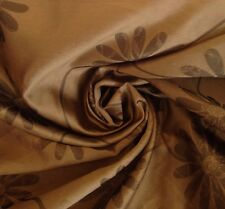 10 metres Faux Silk Daisy  Floral Design Curtain Fabric, Cappuccino
