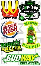 Weed, Kit 10, Voiture, Autocollant, JDM, drift, Van, vélo, bong, ordinateur portable, THC,
