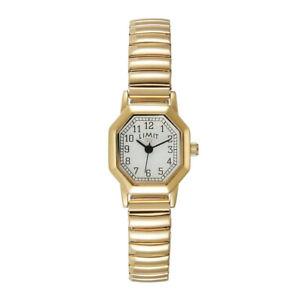Limit Ladies Octagonal White Dial Gold Expander Bracelet Wristwatch 6498