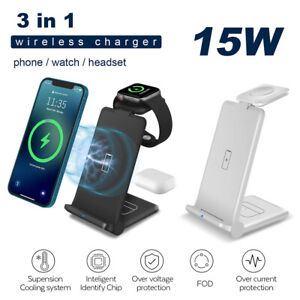 3 In 1 15W Qi Wireless Charger Dock Foldable Stand For Apple Watch iPhone 12 Pro