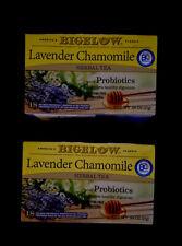 2x Bigelow Lavender Chamomile Herbal Tea Plus Probiotic 36 Tea Bags 2 Boxes New